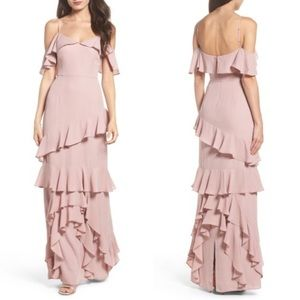 WAYF Danielle Ruffle Tiered Crepe Gown